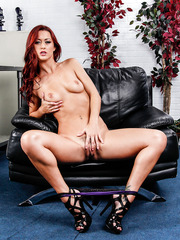 Redhead model-quality babe Karlie Montana excites with her trimmed pussy and tiny natural tits