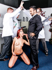 Slutty redhead milf Karlie Montana gets fucked like a whore during doctors' experiment