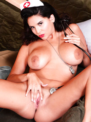 Brunette milf with large boobs Missy Martinez examinates her shaved pussy