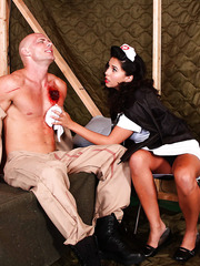 Busty brunette nurse Missy Martinez present unforgettable action for a wounded soldier