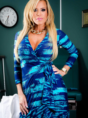 Amazing mature head physician Amber Lynn in sexy high heels and nylon stockings