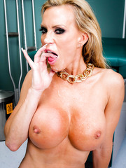 Crazy hot and busty milf doctor Amber Lynn knows all patients with big cocks