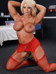 Elegant and busty blonde milf Alura Jenson looks so hot in the red lingerie