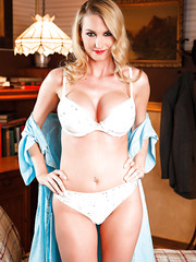 Busty and gorgeous blonde angel Blake Rose shows her sexy body without a lingerie