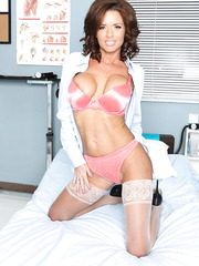Naughty and horny doctor Veronica Avluv shows her sexy lingerie
