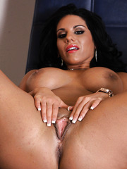 Pretty brunette Bella Reese undresses her skirt and shows hot secrets