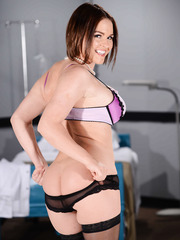Nasty babe Krissy Lynn shows her big tits and a gentle trimmed pussy