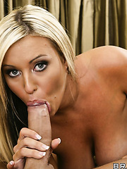 Busty slut Memphis Monroe shows her big tits and gets a big cock in the mouth