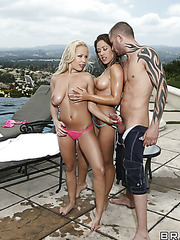 Great outdoor threesome with lesbian chicks named Capri Cavanni and Jessica Moore