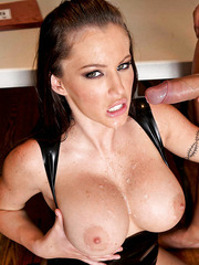 Jenna Presley sucks her fucker's cock and gets a sperm on the huge boobs