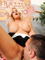 Naughty and busty blonde milf Brooklyn Bailey got a big cock for her massive tits