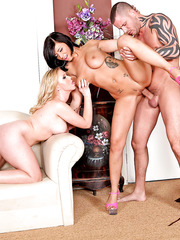 Super hot and hungry ladies Dylan Riley and Halie James got a big cock in the threesome action