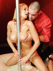 Pole dancer with flawless body and big tits Blake Rose fucks passionate