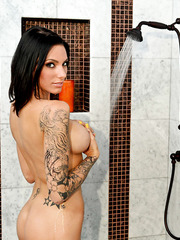 Gorgeous brunette with big tits and hot tattoos Juelz Ventura fucked by Asian neighbour
