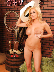 Blonde cowgirl Mariah Madysinn takes off her sexy shorts and huge bra
