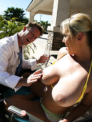 Blonde milf Abbey Brooks seduces a man with her fantastic big boobs