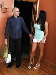 Busty black haired bombshell Audrey Bitoni gets fucked by a bald man with a big cock