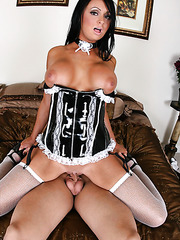 Brunette housekeeper with big tits Hailey Star dressed too sexy lingerie today to seduce lucky boy