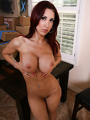 Redhead milf Kylee Strutt takes off tight jeans and gorgeous lingerie