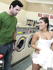 Hardcore dirty sexy in the laundy with buxom Asian girlfriend London Keyes and a stranger