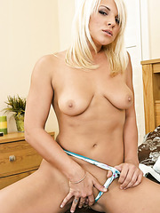 Blonde babe Veronica Raquel invited us to strip in her own bedroom