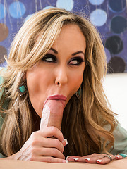 Chubby minx Brandi Love adores swallowing big cocks and riding them