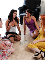 Horny Asian girl London Keyes was playing with her horny girlfriends in a bottle and gets fucked hard
