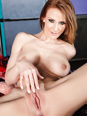 Skinny and horny redhead with big tits and gentle pussy Madison Fox undresses sweet
