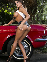 Long legged, giant titted and tanned pippin Madison Ivy undresses near her vintage red car