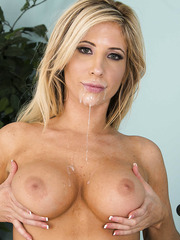 Sparkling milf Tasha Reign gets facialized intense by two satisfied big cocks