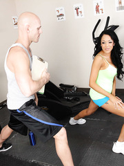 Breanna Sparks gets her shaved pussy stretched by big trainer's dick