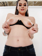 Beautiful brunette girl Tessa Lane shows her big tits and masturbates
