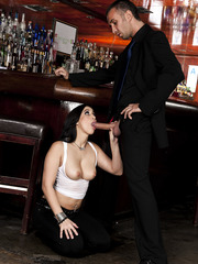 Hot bargirl Valerie Kay enjoys hardcore fucking action with the last client today