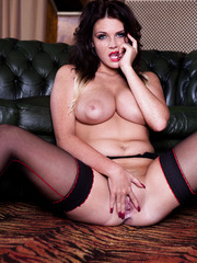 Awesome milf with big tits and hot sensitive nipples Emma Leigh poses hot in front of the camera