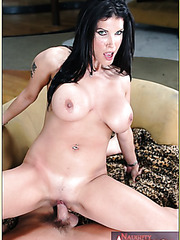 Beautiful brunette milf Shay Sights takes off her sexy jeans and sucks a cock