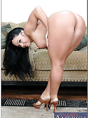 Naughty brunette milf Cherokee shows her shaved pussy and gets a sperm