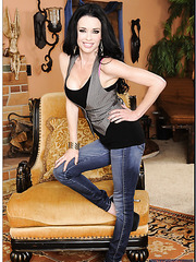 Spicy babe Veronica Avluv taking off jeans and showing amazing forms