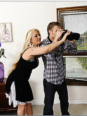 Charming babe Cory Chase getting naughty with her neighbor and swallowing rod