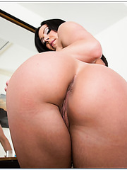 Glamorous wife Kendra Lust taking off panties and trying to masturbate