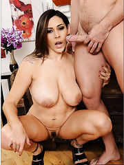 Nasty bitch Raylene getting naked and trying to please a young fellow