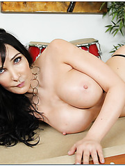 Snazzy babe Diana Prince showing big boobs and taking off lingerie