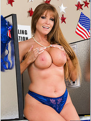 Chubby milf Darla Crane stripping in a sexy uniform and fingering
