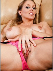 Zealous pornstar Julia Ann showing precious pussy and masturbating
