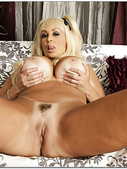 Charming milf Brittany O'Neil showing hairy snatch and jilling it