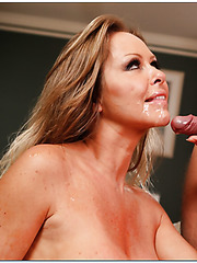 Stunning lady Dyanna Lauren swallows her friend's young delicious dick