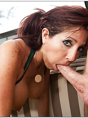 Staggering mature Tara Holiday loves making blowjobs in various places