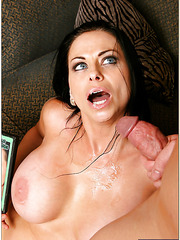 Cheeky brunette Harley Rain sucking a big cock and getting drilled