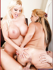 Sweet minx Crystal Ashley and her booty friend swallowing a delicious rod