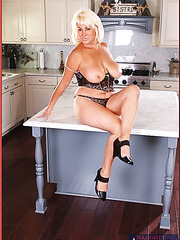 Happy slut Dana Hayes prefers stripping and masturbating in the kitchen