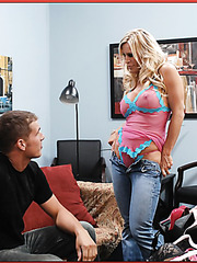 Amber Lynn Bach opens her sweet mouth and tastes her fucker's sperm